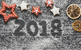 Preview wallpaper New Year 2018, cookies, dry orange slices, powdered sugar