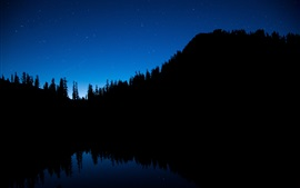 Preview wallpaper Night, blue sky, trees, river, water reflection