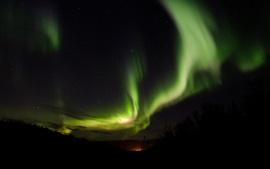 Noite, luzes do norte, céu