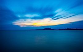 Noche, mar, montañas, azul, anochecer
