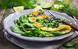Preview wallpaper Omelette, pancake, green beans, breakfast