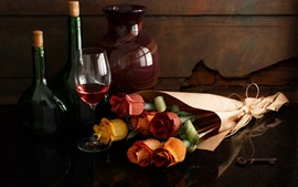 Preview wallpaper Paper roses, wine, bottle, cup