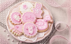Preview wallpaper Pink cookies, plate