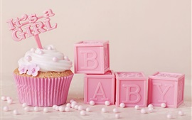 Preview wallpaper Pink cupcake, food, baby