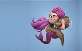 미리보기 배경 화면 핑크 머리 인어와 물고기, 만화