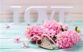 Preview wallpaper Pink hyacinth flowers, Love, heart, romantic