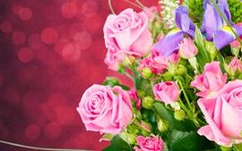 Rosas cor de rosa, íris, buquê, flores