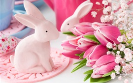 Pink tulips, rabbit toys, Easter