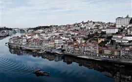 Aperçu fond d'écran Portugal, ville, rivière, maisons, bateaux