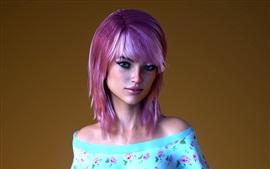 Preview wallpaper Purple hair girl, blue eyes, makeup
