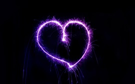 Preview wallpaper Purple love heart, fireworks, sparks