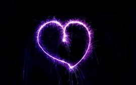 壁紙のプレビュー 紫の愛の心、花火、火花