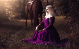 Preview wallpaper Purple skirt girl, blonde, grass, horse