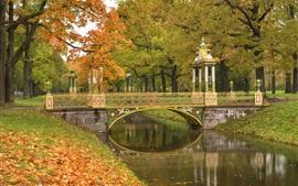 Pushkin, São Petersburgo, parque, árvores, rio, ponte, outono