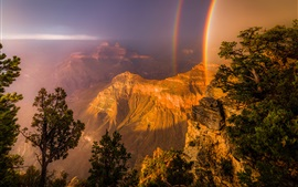 Rainbow, canyon, trees, rocks, mountains, USA