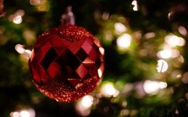 壁紙のプレビュー 赤いクリスマスのボール、装飾、ボケ