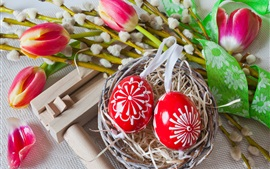 Preview wallpaper Red eggs, pink tulips, Easter