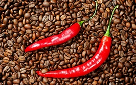 Preview wallpaper Red pepper and coffee beans