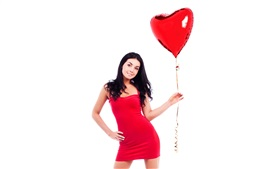 Preview wallpaper Red skirt girl and red balloon, white background