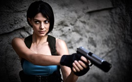 Preview wallpaper Resident Evil, cosplay, girl, gun