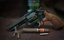 Revolver, gun, whiskey, cigar, weapon