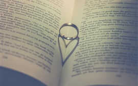 Preview wallpaper Ring, book, love heart shadow