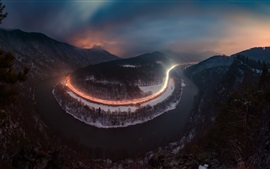 Preview wallpaper River, roads, light lines, mountains, trees, night, fog