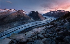 Preview wallpaper Road, mountains, snow, rocks, dusk
