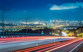 Preview wallpaper Roads, light lines, city, night, buildings, illumination