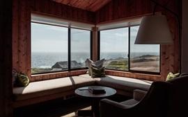 Комната, диван, окно, море
