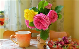 Preview wallpaper Roses, candy, cup, still life