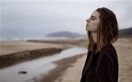 Aperçu fond d'écran Tristesse fille, manteau noir