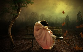 Preview wallpaper Sadness girl, pink skirt, bench, forest