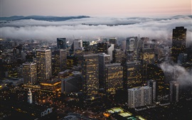 Preview wallpaper San Francisco, USA, city, skyscrapers, winter, fog, clouds, dusk, lights