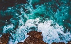 壁紙のプレビュー 海、波、泡、岩