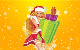 Preview wallpaper Shopping girl, gifts, Christmas, vector