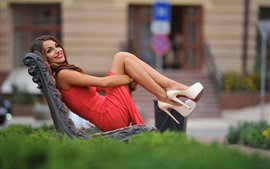 Preview wallpaper Smile girl sit on bench, red skirt, shoes