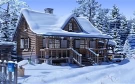 壁紙のプレビュー 雪、家、木、車、アニメ