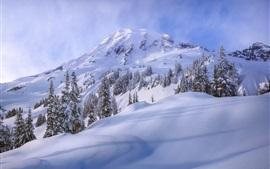 Снег, горы, небо, зима