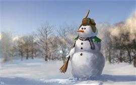 Boneco de neve, soldado, neve, aquarela