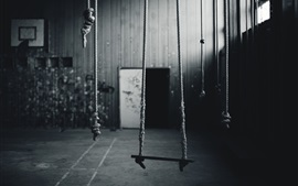 Preview wallpaper Some ropes, room, black and white picture