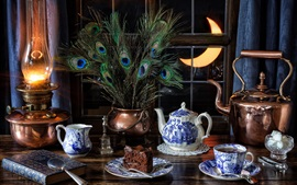 Preview wallpaper Still life, tea, cups, peacock feathers, window, lamp, moon