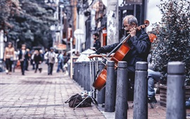Preview wallpaper Street, cello, music, artist
