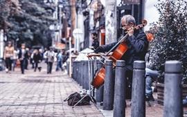 Aperçu fond d'écran Rue, violoncelle, musique, artiste