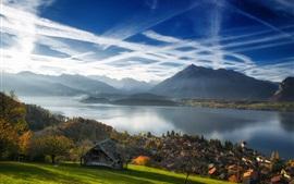 Швейцария, Интерлакен, Озеро Тун, город, горы, Альпы, осень
