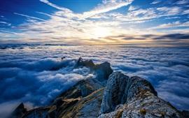 Suíça, Monte Santis, picos, nuvens, nascer do sol