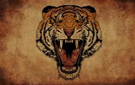 Preview wallpaper Tiger roar, face, art drawing