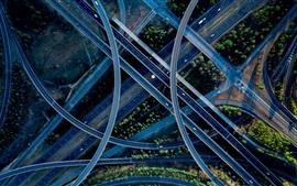 Вид сверху, перекресток, дороги, эстакада