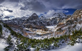 Triglav mountains, Alps, trees, snow, clouds, winter
