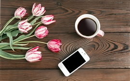 Preview wallpaper Tulips, coffee, phone, wood board